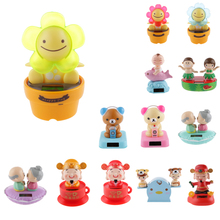New Hot Solar Powered Dancing Flip Flap Car Home Desk Car Dancer Bobble Toy Flower Classic Solar Toys Creative Birthday Gift(China)