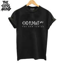THE COOLMIND Top quality Cotton Fashion exo print loose women tshirt cool funny women's tee shirts tops 2017 new T shirt(China)