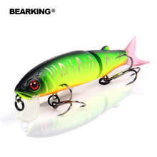 Bearking 2016good fishing lure minnow quality professional bait 11.3cm 13.7g swim bait jointed bait equipped black or white hook(China)