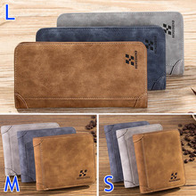 Vintage Men Wallet PU Leather Short/Long Purse Men's Three Folds Card Slots Wallet Popular