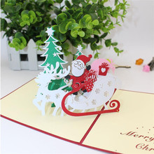 3D POP UP Merry Christmas Greeting card Xmas Gift Santa/Tree/Reindeer pattern 3D Greet cards Festival Thanks cards sale(China)