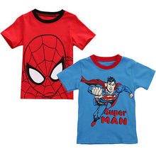 Novelty Spiderman Superman Children Boys T-shirt Top Summer Sleeve Cotton Blue Red Tops Kids Clothes 2-7Y