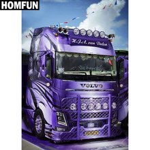 "HOMFUN Full Square/Round Drill 5D DIY Diamond Painting ""Purple truck"" 3D Embroidery Cross Stitch Mosaic Rhinestone Home Decor(China)"