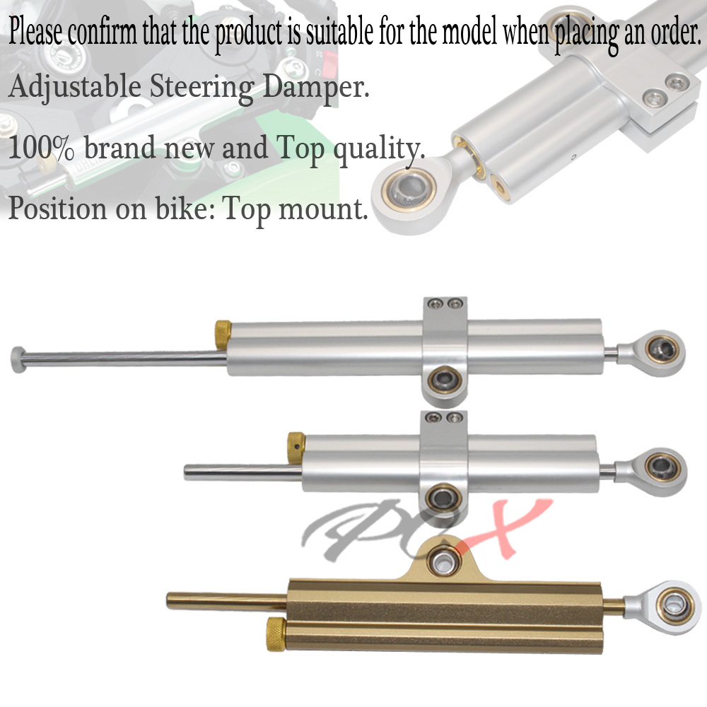Universal Motorcycle CNC Adjustable Steering Damper Stabilizer Aluminum