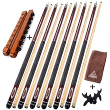 CUESOUL G203X6 6 Pieces Pool Cue With Cue Bridge Head and Cue Towel,8 Cue Stick Pool Table Billiard Wall Rack For House Bar