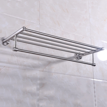 Wall-mounted Towel Rack Brushed Stainless Steel Bathroom Bath Towel Holder Rack Wall Shelf Handy Storage Organization Product(China)