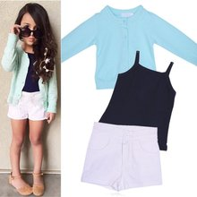 Stylish Girl Knit Coat+Vest+Short pant Trousers Toddler Baby Kids Outfits Clothes Sets