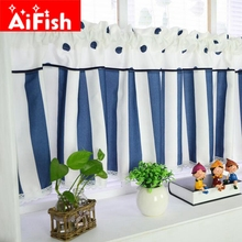 Mediterranean Stripe Bay Windows Short Curtain Bar Decor Rural Small Window Kitchen Partition Bedroom Drapes Panels DY034-20