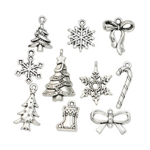 Mixed Tibetan Silver Plated Christmas Tree Snowman Bow Snowflake Charms Pendants Jewelry Making Accessories DIY