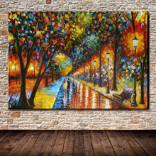 100%Handmade Modern Palette Knife Park Street Oil Painting On Canvas Art Pictures For Room Decor Wall Paintings No Frame 60x90cm(China)