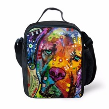 Tie Dye Dog Cat Animal Face Insulated Lunch Bag Food Container Gourmet Tote Cooler warm Pouch For School Work Office