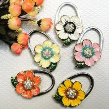 Daisy Flower Design Rhinestone Decoration Folding Purse Handbag Hanger Hook Holder