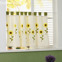 DUNXDECO Short Curtains For Kitchen Half Cortinas Country Style Shiny Warm Yellow Sunflower Embroidery Door Rideau Store Decor(China)