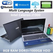 "8G RAM+1000GB HDD 15.6""Gaming Laptops J1900 Quad Core 2.0GHz Wind 7/10 Notebook PC Laptop Computer With DVD ROM WIFI Webcam HDMI(China)"
