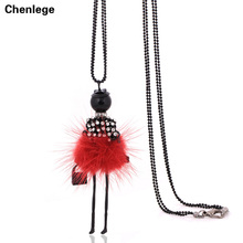 on arrival statement necklace long chains fashion woman necklace retro lovely angel doll pendant big choker ribbon jewelry(China)