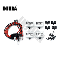 INJORA 2PCS/4PCS RC Car Square LED Light & Cover for 1:10 RC Crawler Axial SCX10 90046 D90 Traxxas TRX-4 Tamiya HSP RC Car Parts