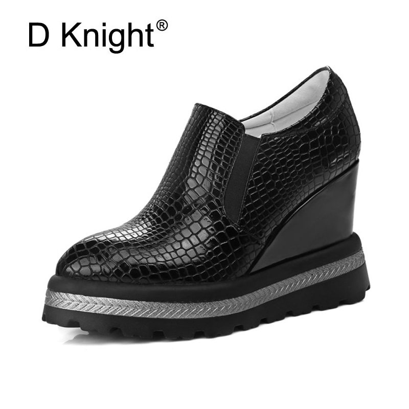 Women Pumps Wedge Platform High Heels Sexy Pointed Toe Party Shoes Woman Casual Silp On Footwear Spring Black White Shoes Women<br>