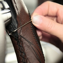 DIY Car Steering Wheel Cover With Needles and Thread Artificial leather Brown/Black for Volkswagen VW Golf 4 BMW Audi toyota(China)