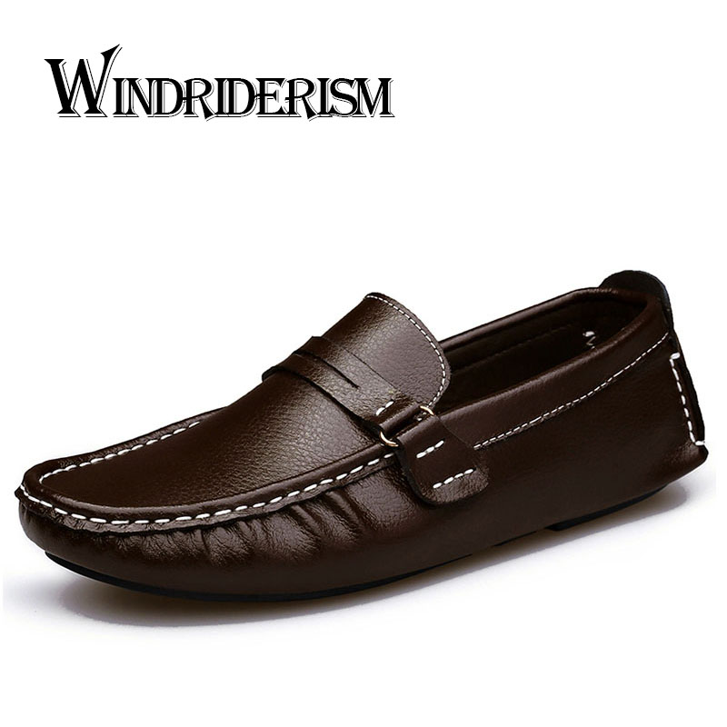 WINDRIDERISM Plus Size 47 Men Genuine Leather Flats Brand Designer Driving Shoes Casual Gommini Loafers Boat Shoes Men Moccasins<br>