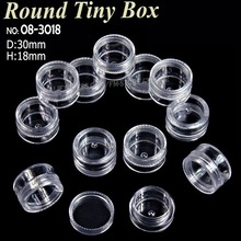 30x18mm Acrylic round clear box with screw cap storage for DIY Nail Art Perfume Accessory Jewelry beads plastic container case