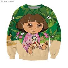 ALMOSUN New Fashion Cute Cartoon Girl Crewneck Sweatshirts Anime Pullover 3D Print Novelty Tracksuits for Women