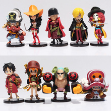 Cute 9pcs/lot Anime One Piece Film Z Luffy Zoro Sanji Franky Nami Robin Chopper Q Version PVC Figure Toys Gift for Christmas(China)