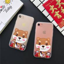 2017 Latest Lovely Cartoon dog For luck cover Case for iPhone7 7Plus soft TPU silicone class iPhone6 6S 6Plus Back Cover Shell