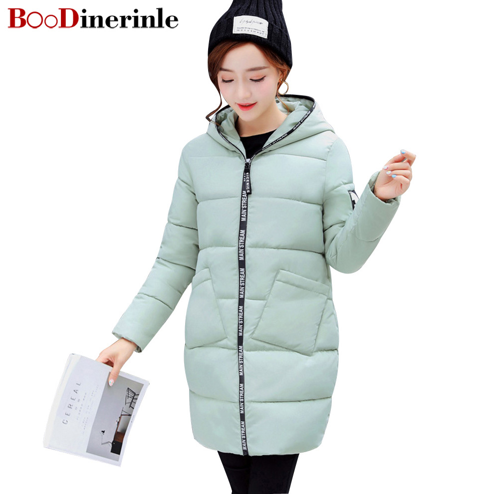 BOoDinerinle Women Printed Long Cotton Coat Letter Zipper Hat Design Hooded Fur Ball Temperament jaqueta feminina inverno MY063Îäåæäà è àêñåññóàðû<br><br>