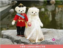 white long skirt dress with golden paillettes & red army suits wedding bears 35cm plush toy ,proposal gift ,wedding gift t6869(China)