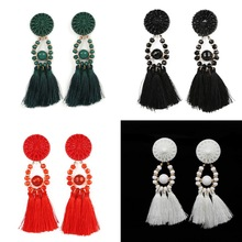 Retro Ethnic Statement Tassel Drop Earrings Four Color Fringed Dangle Long Eardrop Charm For Women Fashion Jewelry Decoration(China)
