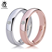 ORSA JEWELS Rose Gold Color&Silver Color Wedding Bands with 4 Pieces Clear CZ Bezel Setting Lover's Ring Wholesale Rings OR61(China)
