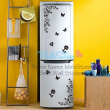 High Quality Creative Kitchen Cabinet Refrigerator Glass Showcase Sticker Butterfly Flower Wall Sticker DIY Home Decor MeleStore(China)