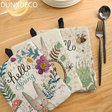 DUNXDECO Pot Cup Pad Mat Table Placemat Kitchen Desk Accessories Mesa Spring Garden Fresh Happy Rabbit Cute Print Decor