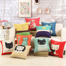 1Pcs Lovely Cat Pattern Cotton Linen Throw Pillow Cushion Cover Home Decoration Sofa Bed Decor Decorative Pillowcase 40324(China)