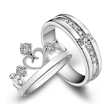 1 Pair =2pcs Silver Plated Ring Jewelry Engagement Love Crown Cross Zircon Wedding Lovers Couple Rings for Women Men