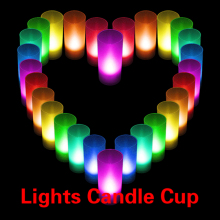 LED Candle Color Changing Wedding Party Xmas Decor Light Flameless Lights Cup With On/off Switch at Bottom