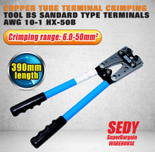 SEDY New 6 - 50 mm Crimp Tube Terminal Crimping Crimper Tool Battery Cable Lugs crimping tool cable terminal hand tool crimper
