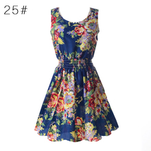 Hot Women Sexy Chiffon Beach Dress Sleeveless Summer Sundress Floral Print Tank Mini Dresses M-XXL 4 Colors New Arrival 2017