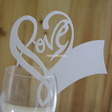 50 Pcs/set Love Heart Wine Glass Card Cup Card Table Mark Place Name Cards Christmas Wedding Party Event