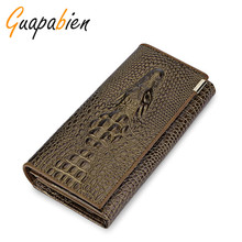 Guapabien Women Wallets And Purses Brand Genuine Leather Female Coin Holder 3D Embossing Alligator Crocodile Long Clutch Wallets