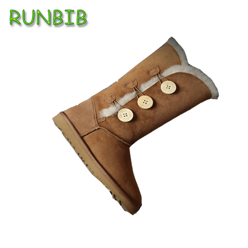 RUNBIB leather short suede women winter snow boots with button fur lined winter shoes high quality <br><br>Aliexpress
