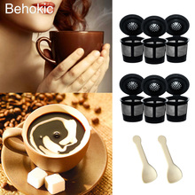 Behokic 6 PCS Reusable Coffee Filter Cups Baskets Accessories with Spoons For KEURIG 2.0 And 1.0 Series K200 K250 K300 K350 K400(China)