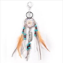 wooden beads dream catcher with a key chain small hanging pendant decoration for bags Car feather pendant handmade handicraft