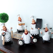 Chef Resin Crafts Vintage Home Decor Chef Furnishing Ornaments Artesanato Figurine decoration Cook Kitchen Restaurant Bar Cafe(China)