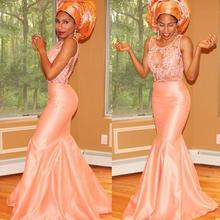 Nigerian Aso Ebi Evening Dresses Lace Peach Mermaid Bridal Party Prom Gowns 2017 Plus Size Cheap Arabic See Through