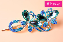 Top Quality Butterfly hairclips Fashion Rhinestones barrettes Gold plated hair jewelry wholesale 4308