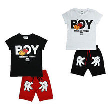 2PCS Toddler Boy Kids Mickey Mouse Outfits T-shirt+Shorts Casual Clothes Set