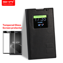 SIKAI Flip Case For Blackberry Priv Leather Case Smart View Shell For Blackberry Priv 5.4' + Tempered Glass Screen Protector