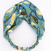 Holiday Beach Head Wrap Chain Leaves Pattern Turban Stretchy Headband Wholesale 12pcs/lot Fashion Korean Hair Accessories(China)
