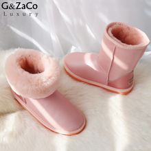 G&Zaco Classic Sheepskin Boots Women Winter Snow Boots Middle Calf Boots Girl Warm Genuine Leather Natural Wool Sheep Fur Boots(China)